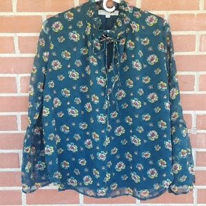 LOFT Tops - Retro floral blouse with double tie Loft size XS